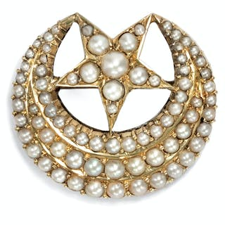 Himmlische Perlen-Brosche mit Sichelmond & Stern, um 1880