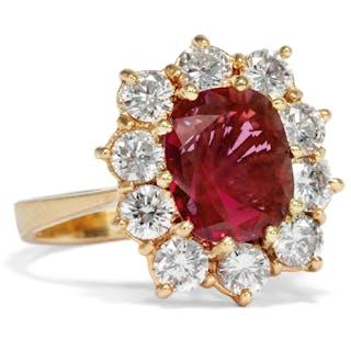 Kostbarer Entourage-Ring mit natürlichem Rubin & Brillanten, 1970er Jahre