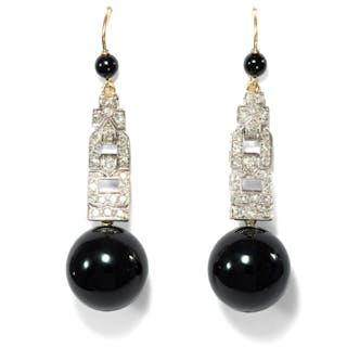 Prachtvolle Onyx & Diamant-Ohrringe aus einem Uhrenband des Art Déco