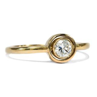 Aus unserer Werkstatt: Ring mit erstklassigem 0,28 ct Diamanten in Gelbgold