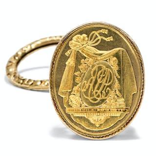Antike Berlocke, Petschaft aus hochkarätigem Gold, Paris um 1830
