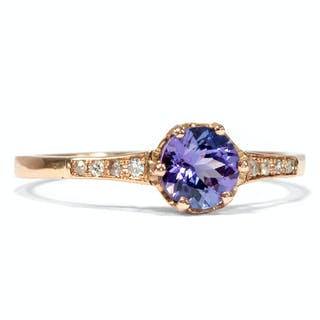 Vintage Roségold-Ring mit Tansanit & Diamanten, um 1980