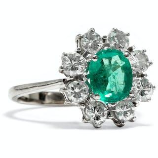 Klassischer vintage Entourage-Ring mit Smaragd & Brillanten, um 1970