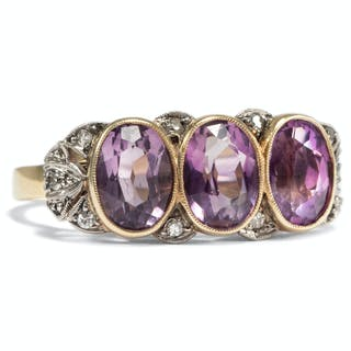 Eleganter antiker Art Déco Ring mit Amethysten & Diamanten, um 1935