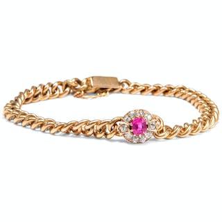 Exquisites Panzerarmband aus Gold mit pinkem Saphir & Diamanten, um 1890