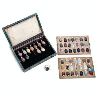 Antikes Steinkabinett mit 52 Ringsteinen und Goldring, Dresden oder