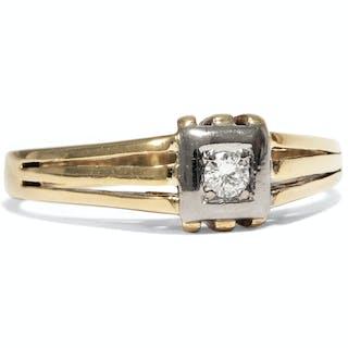 Eleganter vintage Solitärring mit Diamant in Gold, 1950er Jahre