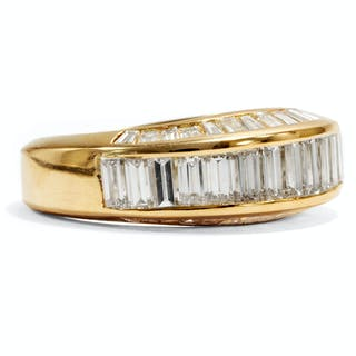Vintage Ring mit 2,10 ct Diamant-Baguettes in Gold, Carlo Illario