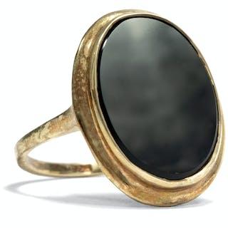 Antiker Art Déco Ring mit Onyx in vergoldetem Silber, Pforzheim um 1935
