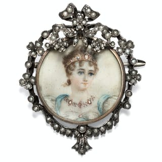 Antike Portraitminiatur der Caroline Murat in Silber & Naturperlen, um 1895