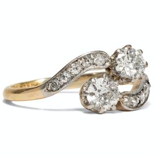 Romantischer Diamant-Ring des Jugendstil in Platin & Gold, um 1905