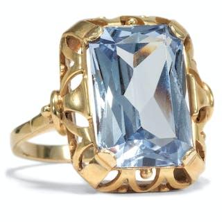 New Old Stock: Ring mit synthetischem Spinell in der Farbe von Aquamarin