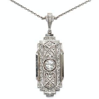 Elegantes Collier mit 0,28 ct Altschliff-Diamant in Gold & Platin
