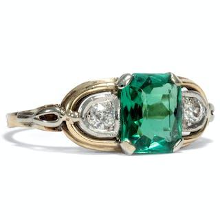 Handgeschmiedeter Ring aus Gold mit grünem Turmalin & Diamanten, um 1935