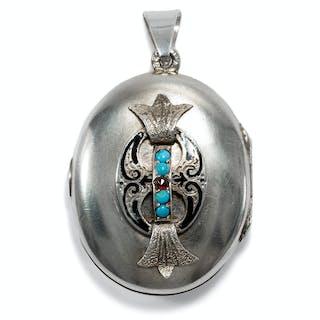 Antiker Medaillon-Anhänger des Historismus aus Silber, Wien um 1880