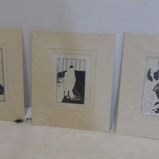 After Aubrey Beardsley, three reproduction prints to include golf