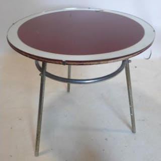 An early 20th century lamp table by J M Doughty, with red glass top