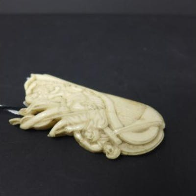 A 19th century European maritime ivory carving, modelled as figures