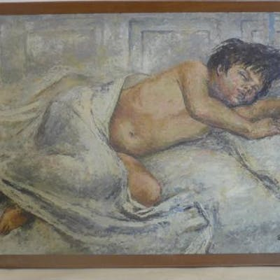 Stanley Young (20th century school), 'A Hot Night', a young boy sleeping