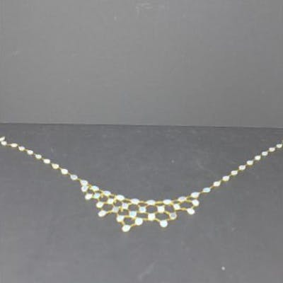 A 14ct yellow gold natural opal chandelier necklace composed of 50