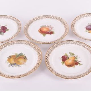A set of five early 20th century KPM porcelain plates each of circular