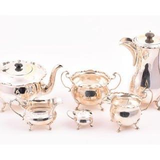 A mid-20th century four-piece silver tea set Birmingham 1957 & 1959