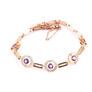 A 15ct yellow gold and amethyst bracelet set with round-cut amethysts