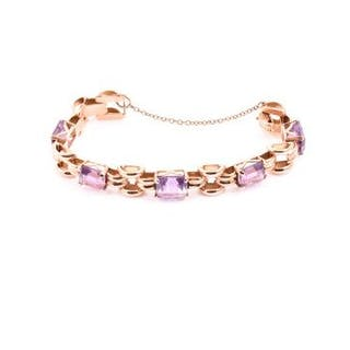 A mid 20th century 18ct yellow gold and amethyst bracelet possibly