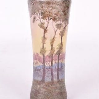 A turn of the century Muller Freres cameo glass dimpled vase overlaid