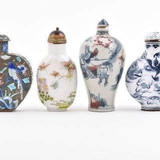 A collection of Chinese Qing dynasty snuff bottles to include a Canton