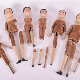A group seven 19th century Dutch 'peg' toy dolls, each with handpainted