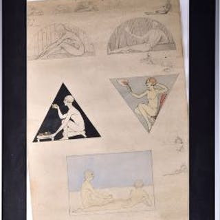 A 1920s Art Deco sketch drawing probably French, composed with various