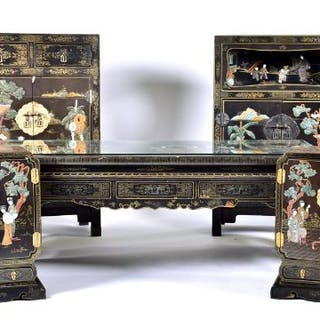 A five-piece matched suite of 20th century Chinese lacquer furniture