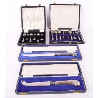 A set of six Art Deco enamelled teaspoons in the Art Nouveau style