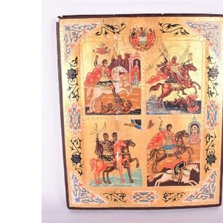 A 20th century Russian icon depicting various biblical scenes including