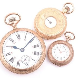 A ladies 18ct yellow gold half hunter pocket watch together with a