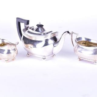 A George V silver three piece tea set Chester 1918, by Barker Brothers