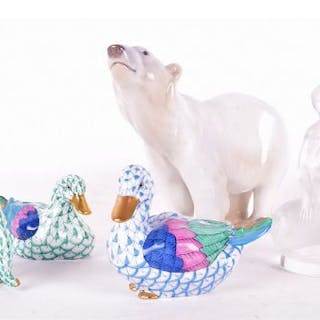 A Bing and Grondahl polar bear together with a Lalique 'Leda and the