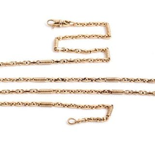 A 9ct yellow gold fancy-link chain necklace comprised of Gucci-style