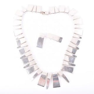 An unusual silver necklace and earrings possibly Scandinavian, the