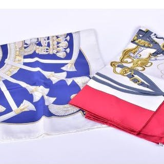 Two Hermes silk lady's scarves to include one titled 'Brides de Gala'