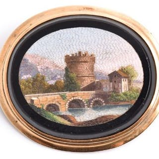 A 19th century micro mosaic brooch depicting the Ponte Lucano over