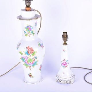 A Herend porcelain table lamp decorated with flowers and butterflies