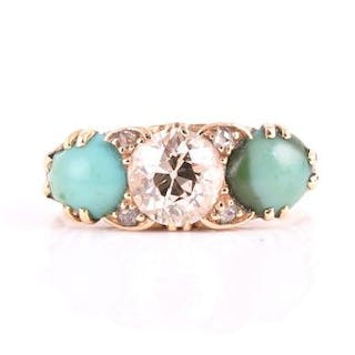 A late 19th / early 20th century 18ct yellow gold, diamond, and turquoise