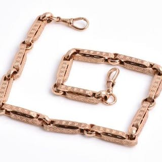 A 9ct rose gold fancy-link necklace possibly converted from a watch