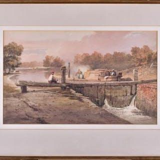 Samuel Prout (1783-1852) British 'Lock Gates,' watercolour on paper