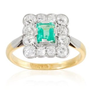 1f8e4824dd AN ART DECO EMERALD AND DIAMOND DRESS RING in yellow gold