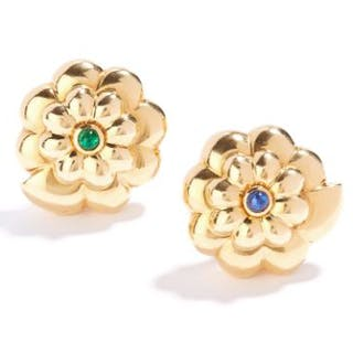 a35d45cec VINTAGE EMERALD AND SAPPHIRE EARRINGS in 18ct yellow gold, in floral