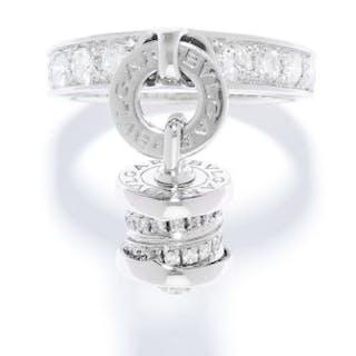 B.ZERO 1 DIAMOND RING, BULGARI in 18ct white gold, set with round