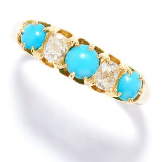 ANTIQUE TURQUOISE AND DIAMOND RING in 18ct yellow gold, set with a